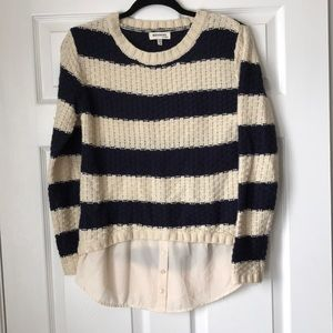 Striped sweater with sheer button down hem
